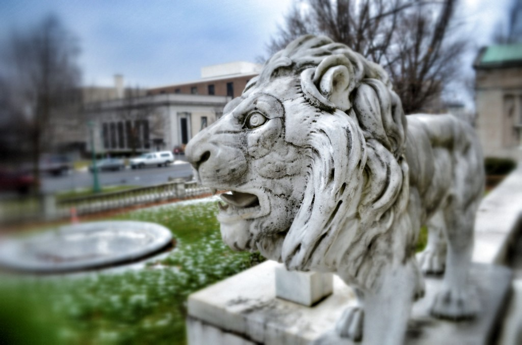 Marble Lion Roswell P. Flower Memorial Library