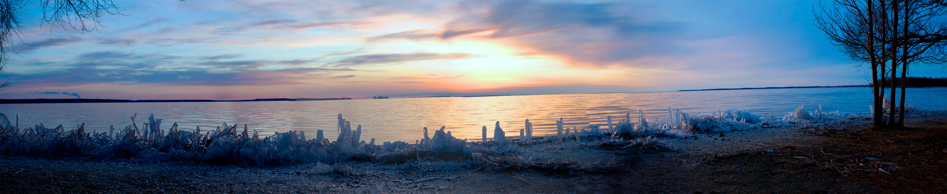 Ice Formation Sunset Panorama