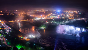 Niagara Falls (NY) at night taken from the Skylon tower in Niagara Falls, ON