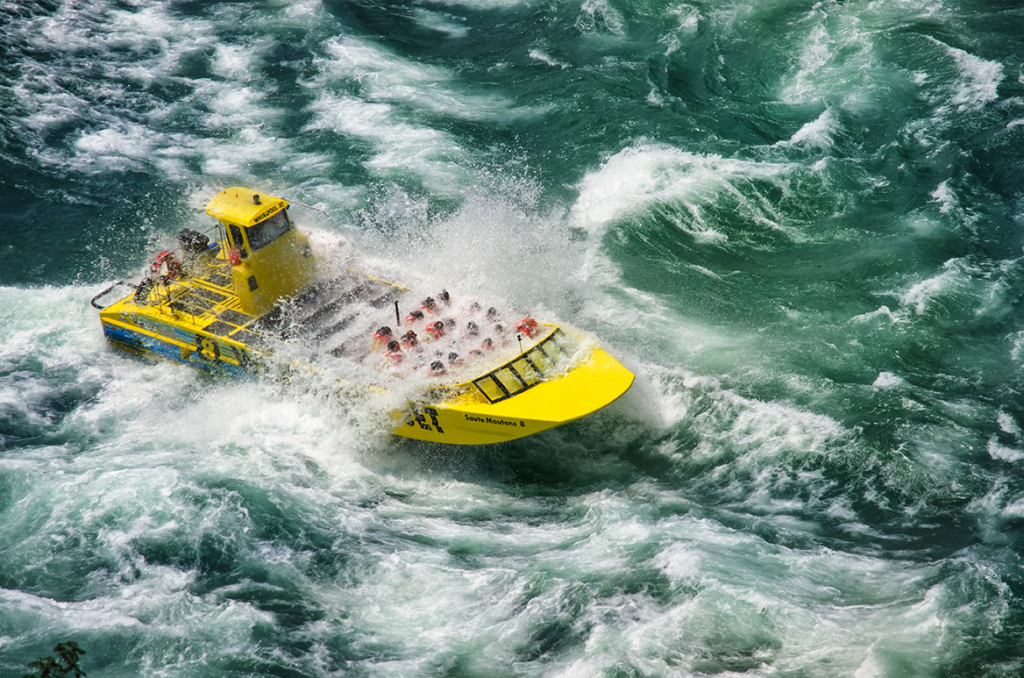 Whirlpool Jet Boat tour seen from Devil's Hole State Park