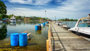 Sunken town docks in Alexandria Bay, N.Y.