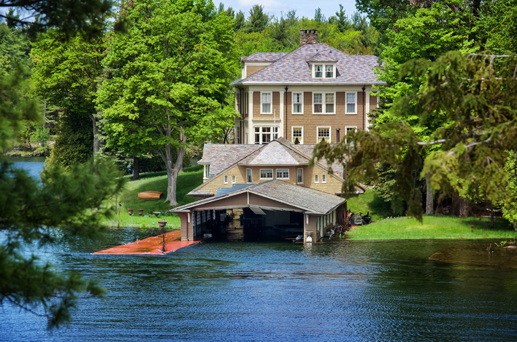 Submerged docks and boathouse on Comfort Island in Alexandria Bay, N.Y.